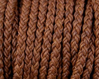 Round Braided Bolo Leather Cord 8 Ply 8 mm Natural Brown Color (Length: 1 Foot) LCBR3