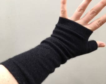 Hand made Cashmere upcycled wrist warmers black