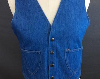 Vintage 70's Denim Vest Vintage Denim Waistcoat