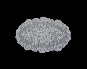 Vintage handmade crocheted centerpiece doily -- white crocheted delicate doily rich flower pattern -- 15x10 inches / 38x25.5 cm