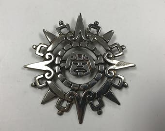 d273 Vintage Sterling Silver Mayan Calendar Circle Pendant Brooch Pin Mexico 925