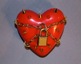 Guarded Heart Scuplture - Gold spiked and chained