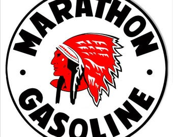 """Marathon Gasoline Motor Oil Gas Station Garage Shop Metal Sign 14""""x 14"""" Round 24g Steel RG7091"""