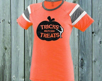 Tricks Before Treats Gymnast Stripe Tee