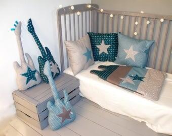 coussin chouette bleu canard et gris. Black Bedroom Furniture Sets. Home Design Ideas