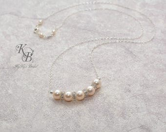 Pearl Bridal Necklace Pearl Bar Necklace Simple Pearl Necklace Pearl and Crystal Necklace Swarovski Pearl Necklace Bridal Jewelry Weddings
