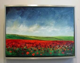 Poppy Field Landscape Oil Painting Original