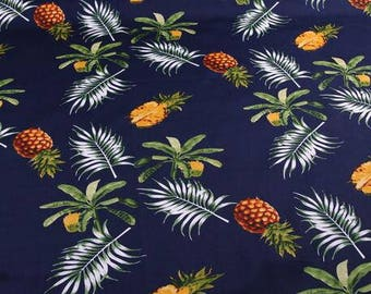 "Cotton fabric sale, Navy blue cotton fabric with coconut tree and pineapple pattern by 1m -SYL-56""Wide"