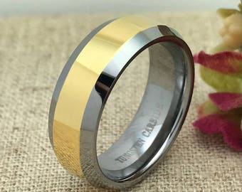8mm Tungsten Wedding Ring, Personalized Engrave Tungsten Wedding Ring, Two Tone Unisex Wedding Ring, Father's day Gift, Free Engraving
