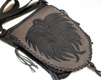 leather bag,shoulder bag,bag for hanging,genuine leather,black leather, black bird,crow,hand worket,unique,fancy bag,middle age,saddle bag