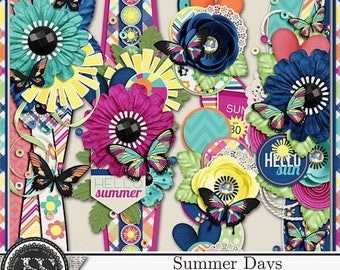 On Sale 50% Summer Days, Beach, Swim, 12 inch Page Borders for Digital Scrapbooking