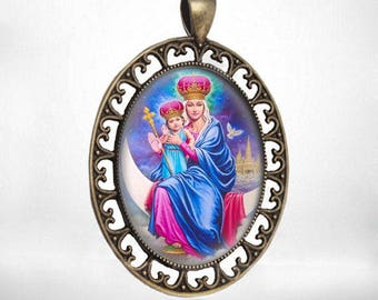 Virgin Mary And Child Jesus On The Moon Vintage Catholic Medal Pendant Jewelry