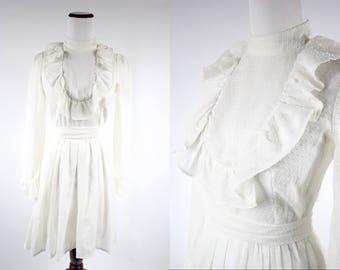 1960's White Pin-dot Ruffle Long-sleeve Mini Dress w/ Belt