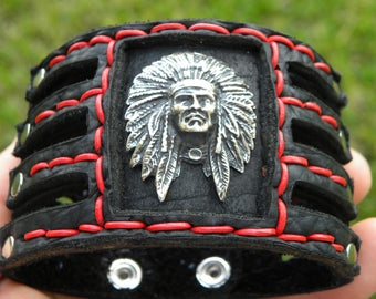 Buffalo Bison Leather cuff Bracelet  sterling silver Native Indian Head chief customize to wrist size nice gift Seminole Indians FSU fans