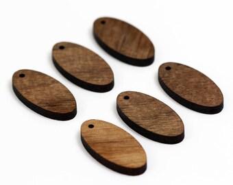 6 Oval Blank Beads : Walnut Plywood