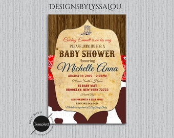 Cowboy Baby Shower Invitation, Western Baby Shower Invitation,Vintage Western Baby Shower Invitation, Cowgirl, Cowboy, Template, You Edit