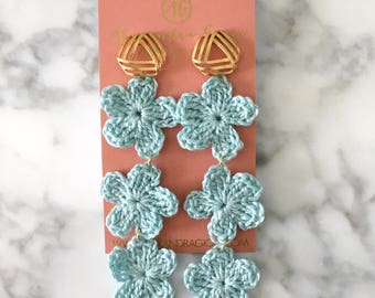 Crochet Flower Drop Earrings