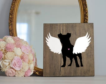 Jack Russel Terrier Angel Wing Silhouette, Remembrance Sign, Dog Memorial, Loss of Dog