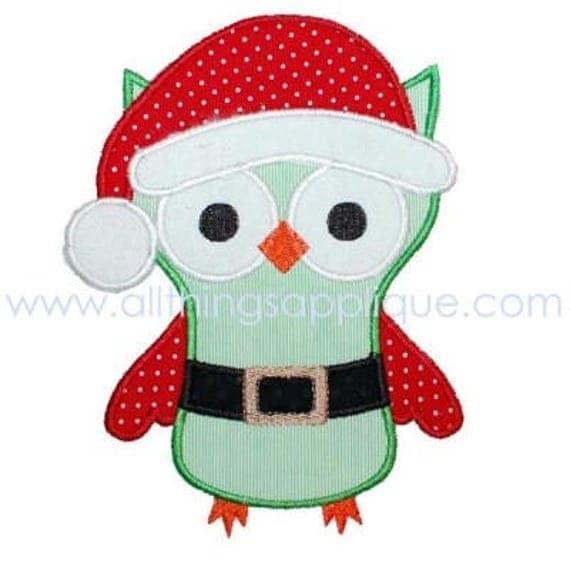 Santa Owl Applique, Santa Owl Shirt, Owl Applique, Santa Applique, Christmas Applique, XMAS Shirt