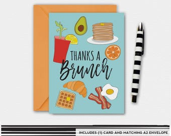 Thanks a BRUNCH, Thank You Card, Funny Greeting Card