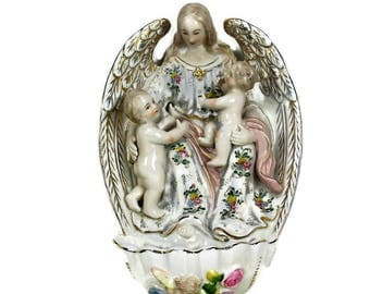 XL Antique French Holy Water Font Porcelain Angel Children Marked Collector HTF