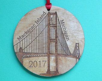 Mackinac Island Bridge Christmas Ornament