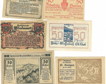 10 Different Old Austrian Banknotes Dating To The 1920 period. (Notgeld). Superb Condition. Lot No 4