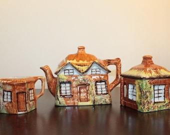 Price Kensington Cottage Ware Teapot, Creamer and Sugar