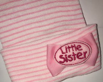 Newborn Hat with Small Little Sister Embellishment on Small Bow Newborn Hospital Beanie.  Baby Newborn Hats.  Little Sister