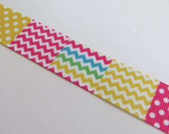 Pretty Ribbon with multicolored dots and zig - zag pattern