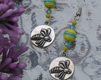 Earrings silver bee and striped by JosieCoccinelle ball