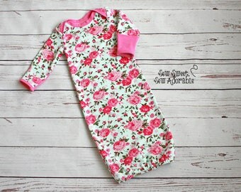 Baby Gown with Scratch Mitts - CUSTOM - Infant Gown - Newborn Gown - Made to Order - Layette - Bodysuit Gown - Sleeper - Scratch Mitts