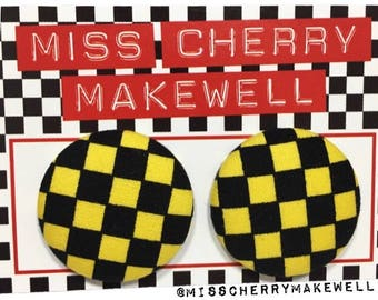 Yellow & Black Ska Checkerboard Fabric Button Rockabilly Punk 1950's 1960's Pin Up Vintage Inspired Stud Earrings By Miss Cherry Makewell