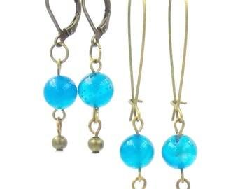 Earrings - brass - short version - long version - gemstones - gift for her - fine stones Coral