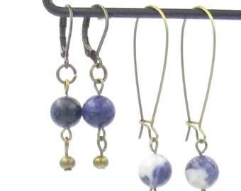 Earrings - brass - short version - long version - gemstones - gift for her - fine stones Howlite