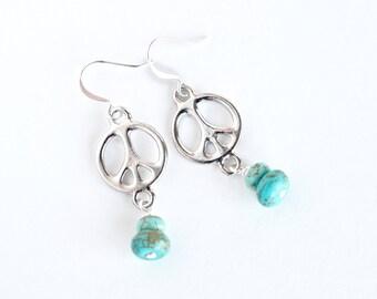 Peace symbol dangle earrings, turquoise howlite women's jewelry, boho style gemstone earrings, bohemian trends, peace earrings, gift for her