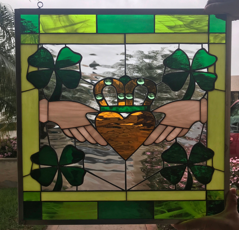 Irish Claddagh Ring Shamrock Stained Amp Beveled Glass Window