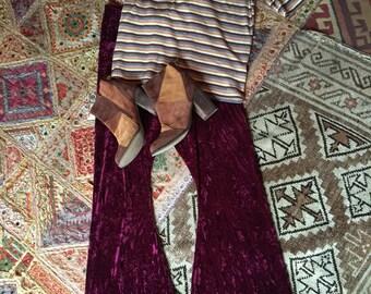 1970's Style Crushed Velvet Flares