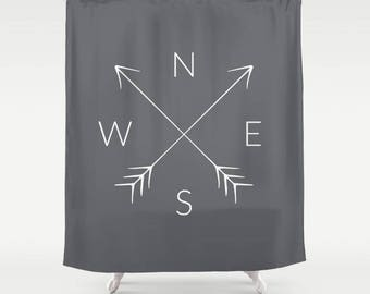 45 colors compass shower curtain north south east west nsew arrow adventure boho travel wanderlust