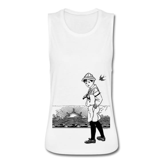 A Day At The Seaside. Vintage Sailor Boy Sea Mine Sunset Horizon Women's Deep Cut Armhole Sheer Fabric Vest Tank Top.  Sizes S-XL. White.
