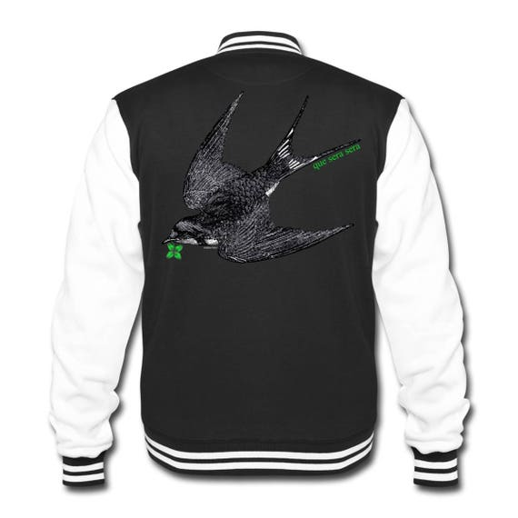 College Varsity Preppy Sweat Jacket With Swallow Bird 'Que Sera Sera' Back Print. Sizes S-XXL. Black With White Arms And Contrasting Trim.