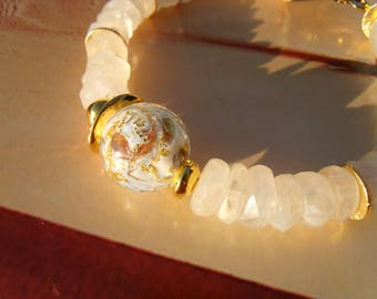 MURANO Moonstone bracelet light blue glass ice shimmer theater dance Greek ceramic gold plated