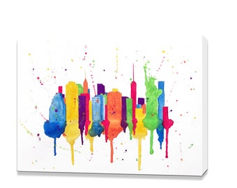 New York City Skyline Art Print, New York City Skyline, New York City Painting, New York City Skyline Painting, New York City Canvas Print