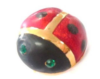 Vintage Brooch Ladybug Pin Red Black Gold Tone Metal Rhinestones Costume Jewelry Retro Fashion Accessories Insects Bags