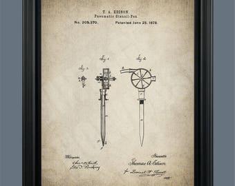 Vintage Tattoo Machine Patent Print - Tattoo Pen - Tattoo Poster - Tattoo Artist - Tattoo Art - Tattoo Parlor - Tattooing Machine - #141