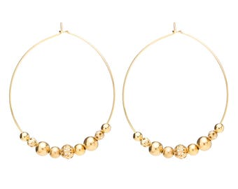Gold beaded hoops / Dainty earrings / Summer accessories / Earrings gift