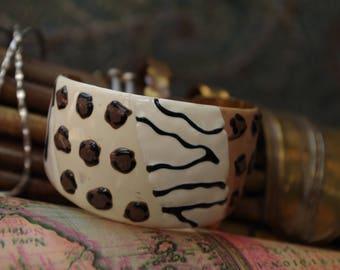 Animal Pattern 1980s Cuff Bracelet - Zebra Jaguar Giraffe Tiger Cheetah Lion -Paradox Thrift