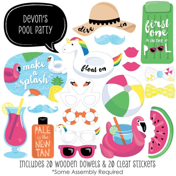 Make A Splash Pool Party Photo Booth Props Photobooth Kit With