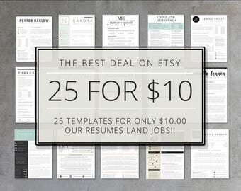 resume template bundle 25 pack of etsys top selling resume templates resume cover