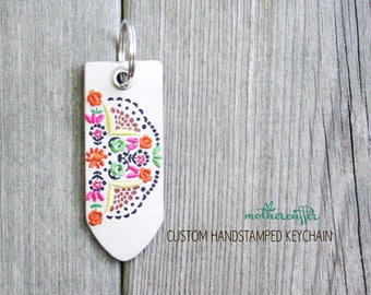 CUSTOM HANDSTAMPED white leather keychain with multi color stitching by mothercuffer